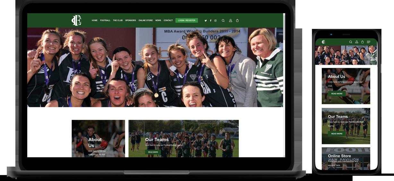 Echuca Football Netball Club Website Mockup