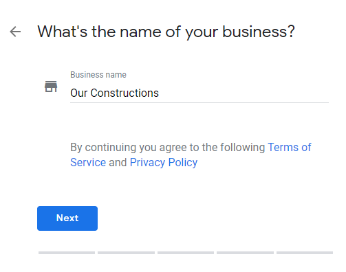 Google My Business business name form example
